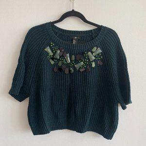 H&M Green Jeweled Short Sleeve Sweater